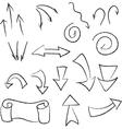 set of linear black arrows vector image
