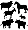 Farm animals silhouettes vector image vector image