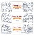 Bakery shop desserts sketch banners set vector image vector image