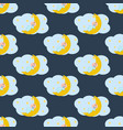 baby sleeping on the moon seamless pattern vector image