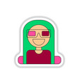 in paper sticker style girl at vector image