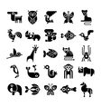 black and white isolated animal icons vector image