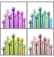 Set of colorful up hands vector image