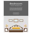 Website banner of graceful bedroom interior with vector image