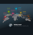 world map with pointer marks and icons vector image