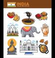india tourism travel famous landmark symbols and vector image