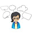 A serious businesswoman with empty callouts vector image vector image