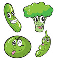 Green fresh vegetables set vector image vector image