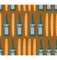 French seamless patern Baguette and wine vector image