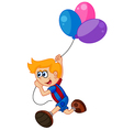 Cartoon little boy holding balloon vector image