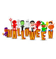cute kids wearing halloween costumes vector image