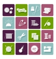 Dressmaking knitting and embroidery icons vector image