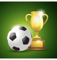 Gold cup with a football ball vector image