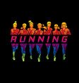 marathon runners group of women running with text vector image