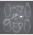Set of hand drawn dairy farm objects Milk goods vector image