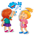 Two girls spraying the wall vector image