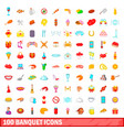 100 banquet icons set cartoon style vector image