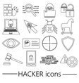hacker and computer security theme outline icons vector image