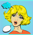 blond woman shocked surprised pop art comic style vector image