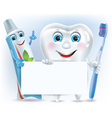 Funny tooth tooth paste and tooth brush with blank vector image