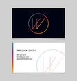 business-card-letter-w vector image