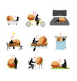 lover fast food set man and hamburger in movie vector image