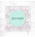 Seafood menu with hand drawn underwater pattern vector image