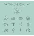 Food thin line icon set vector image