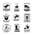 Rodeo Black Emblems Set vector image