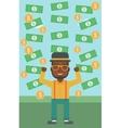 Happy businessman under money rain vector image