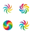 Bright colors rainbow flower logo set vector image