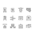 exhibition rooms black line icons set vector image