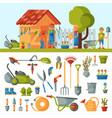 garden farm instruments tools and farmer family vector image