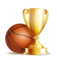 Golden trophy cup with a Basketball ball vector image