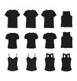set of different realistic black t-shirt for man vector image