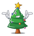 wink christmas tree character cartoon vector image
