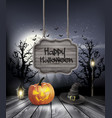Halloween spooky background with wooden sign vector image vector image