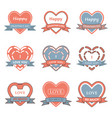 valentine day heart badgelabelribbonand vector image