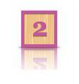 number 2 wooden alphabet block vector image