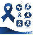 Dark Blue Awareness Ribbons Kit vector image