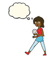cartoon soccer girl with thought bubble vector image