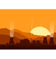 Silhouette of a nuclear power plant at sunset vector image