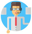 A businessman in headphones speaking Colored flat vector image