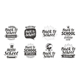 Back to school set icons Handwritten lettering vector image