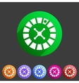 Casino gambling roulette wheel icon flat sign vector image