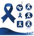 Dark Blue Awareness Ribbons Kit vector image