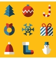 Flat icon set Merry Christmas vector image