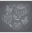 Hand drawn tea porcelain service set Chalkboard vector image