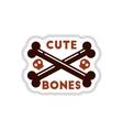Paper sticker on background of cross bones vector image