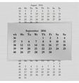 calendar month for 2016 pages September start vector image
